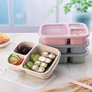 3 сетки пшеницы солома ланч коробка микроволновая печь bento коробка качества здоровье натуральный студент портативный пищевой ящик для хранения посуды обенков owe9389