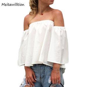 MEITAWILLILTION Sexy Slash Neck aus Schulter Top Chiffon Bluse Frauen 2021 Sommer Solide Lose Womens Tops und Blusen Weiß Schwarz Damen SH