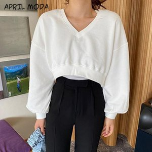 Casual Loose Cotton Short Hoodie Women 2020 New Long Sleeve V Neck Female Autumn Winter Tops White Hoodies and Pullovers