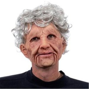 DHL Funny Toys old man mask horror wig head set dress up props party decoration latex material recreational toy