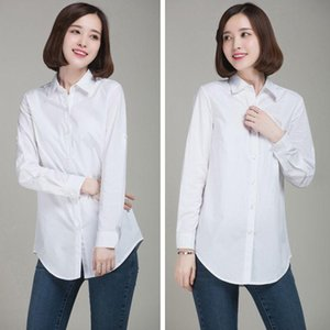 Women's Blouses & Shirts Fashion Casual Brief Ly Women Ladies Long Sleeve Turn-Down Collar Solid White Slim Outfit Spring Autumn