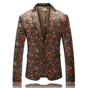 Velvet Blazer For Men 2019 New Autumn Stylish Mens Printed Blazer Jacket Elegant Prom Club Stage Blazers Male Costume Homme