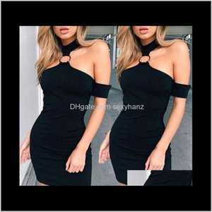 Dresses Womens Clothing Apparel Drop Delivery 2021 Evening Club Party Bodycon Halter Sexy Women Off Shoulder Summer Sleeveless Casual Short M