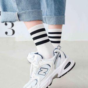 Socks fashion autumn winter stripe middle tube socks bars style pure cotton men's net red