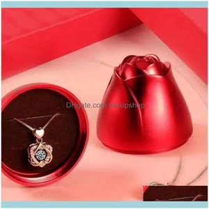 Greeting Event Festive Party Supplies Home & Gardengreeting Cards Fashion Rose Flower Jewelry Packaging Cubic Zirconia Necklace For Women Tr