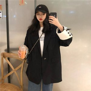 Women's Suits & Blazers 2021 Women Harajuku Ladies Suit Blazer Vintage Casual Loose All-match Jacket Coats Plus Size Clothing For