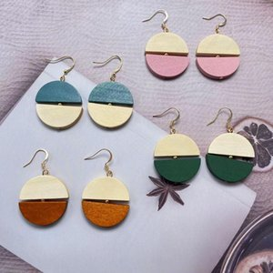 Korean Personality Semi-circular Wood Stitching Contrasting Color Dangle Earrings for Women Temperament Round Earring Female Jewelry