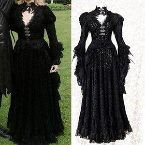 Casual Dresses mittelalterlich edel Cosplay Halloween Weibliche Kostüm Erwachsene Spitze Vampir Masquerade Frauen Kleid OQLB