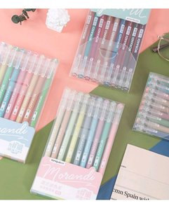 A set of nine multicolor neutral pens for note-taking students color highlighters marking key points