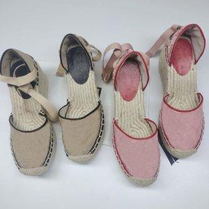 Designer Sandals Women Espadrille Strap Round Wedge Heel Heels Fashion Genuine Leather Fisherman Wedding Dress Party Shoes With Box Q-39
