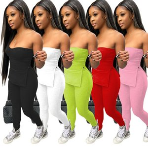Summer Womens Tracksuits Sexy 2 Piece Set Outfits Sleeveless Strapless Tops Pantsuits Sportswear Jogger Sport Suit Shirt Pants Suits 8662