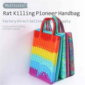 44*26.5CM Large Big Size Fidget Handbag Rainbow Tie Dye Push Pops Tote Sensory Early Education Anti anxiety Finger Toys Silicone Hand Bag Storages G9356L5