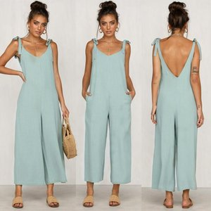 Women's Jumpsuits & Rompers 2021 Women Solid Overalls Candy Color Summer Casual Trousers Playsuits Woman Loose Jumpsuit Backless