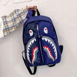 Дети дети мультфильм акула лицо школа сумка граффити студента рюкзак tik tok стиль книга пакет школьные сумки сумки рюкзак спортивные путешествия duffle totes g80pew