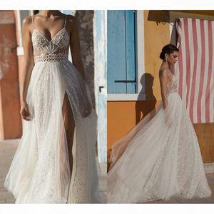 Beach Wedding Dresses Side Split Spaghetti Illusion Sexy Boho Wedding Gowns Sweep Train Pearls Backless for Bohemian Bride