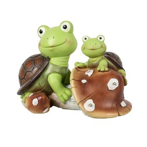 정원 동상 장식 개체 인형 귀여운 개구리 얼굴 거북이, 태양 전원 수지 동물 조각 파티오, 잔디, 장식에 대 한 3 개의 LED 조명