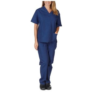 40# Men & Women Work Unisex Set Enfermera Pocket Uniform Short Sleeve V-neck Tops+pants Sets Nursing Working Suit Women's T-Shirt