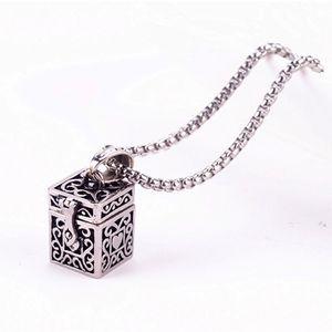 Ashes Magic Box Pendant Urn Keepsake Vintage Necklace Titanium Steel Pet Cremation Jewelry Memorial Ash Holder Can Open Put Urn GZ201