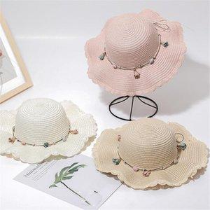 Palha Sun chapéu mulheres verão cor sólida grande disquete largo chapéus de praia boné com flor mar maré borda