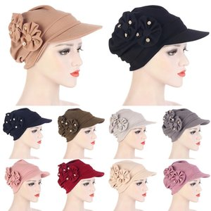 Women Head Wrap Turban Hat Soild Hijabs Flowers Head Wear Sleep Cap Brim Turban Sun Protection beanie hat Sunscreen Caps