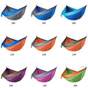 Outdoor Parachute Cloth Hammock Foldable Field Camping Swing Hanging Bed Nylon Hammocks With Ropes Carabiners EWB6391