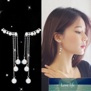 925 Solid Real Sterling Silver Tassel Pearl Long Drop Earrings For Women Wedding Jewelry Earring Female Brinco oorbellen eh424