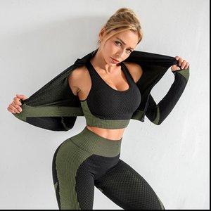 Seamless Clothing Sport Gym Wear Womens Legging Running Fitness Long Sleeve Shirt Bra Leggings Push Up Workout Pants High Wait