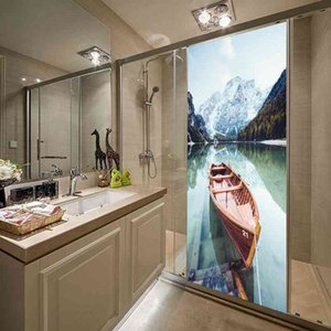Room Decoration Wallpaper Living Home Deco Adhesive Pvc Sticker 3d Secnery Lake Boat Diy Wall Art Paper Mural Painting Stickers