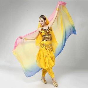 Buenco Dancing Trajes de gasa Hilo Bufanda Solid Belly Dance Veils Escenario Performance Props