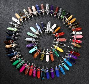 10 Arten Bulk Quarz Naturstein Anhänger Sechsecker Prismark Punkt Heilung Kristalle Chakra Perle Charme Für Halskette Schmuck 97 K2