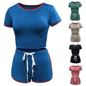2pcs Women Shorts Set Summer Sports Outfits Casual Short Sleeve T-shirt Top Skinny Two Piece Tracksuits Sportwear Women's