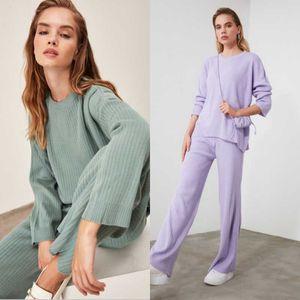 Women Green Knitwear Sweater Pant Sub-Top Suit Outwear Home Wear Soft Fashion Knitted 2 Piece Pants Women's Two