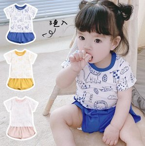 2021 ins Детские дети восхождение набор льва печати футболка + сплошной цвет короткие 100% хлопок летняя девушка младенческая одежда 0-2т 2 цвета