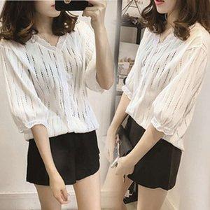t Shirts Loose Large Base Women's Korean Hollow Out Temperament Short Lace Fashion
