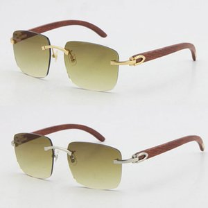Envío libre sin montura de las gafas de sol de madera tallado del metal sin rebordes gafas de marco de madera de oro T8300816 Gafas de sol con la caja C Decoración