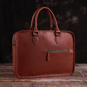 15 Luxury Vintage Bag Fashion Office Inch 2020 Laptop Handbag Coffee Leather Shoulder Business Genuine Man Casual Men Briefcase Mfgaa