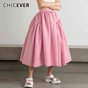 Women's Shorts CHICEVER Korean Fashion High Waist Long Skirt For Women Fold Pleated A Line Loose Solid Mid Skirts Female Summer Clothing 0EJO