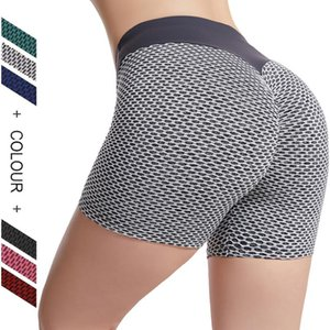 Yoga Pants High Waist Sports Shorts honeycomb Short Running Leggings Push Up Women Sexy Peach Buttock Tights Mention Hip Exercise Tight WMQ1111