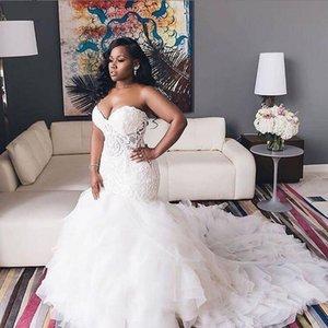 2020 Africano Vestidos de Casamento Querida Renda Sereia Plus Taille NOIVA Rendas à Camadas Varredura TRB