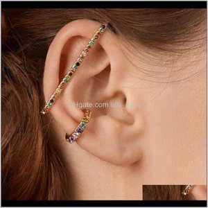 3Pcset Rainbow Crystal Rhinestone Clip Earrings For Charms Jewelry Femme Circle Earring Brincos Fashion Smjjd Sux54