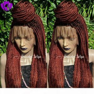 Long copper red Cornrow Braids Crochet Wig micro braids full lace Front Synthetic Wigs For Black Women African American box Braided Wigs