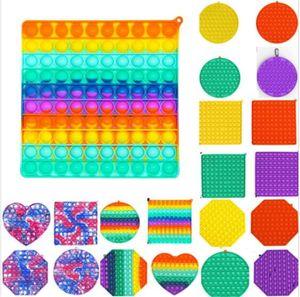 Große Größe Jumbo Zappeln Blase Poppers Board Sensory Toys Tie Dye Rainbow Push Pop sein Blase Puzzle mit Karabiner Einfache Grübchen Schlüsselanhänger Fingerspiel H41i9at