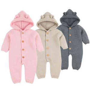 Baby Romper 3D Cartoon Bear Knitted Girls Born Funny Jumpsuits Onesie Fashion Hooded Long Sleeve Toddler Children's Overalls 210417
