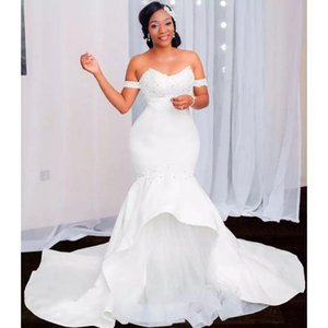 Mermaid Wedding Dresses Bridal Dress Off Shoulder Lace Tiered Skirts African Bride Gowns Plus Size Custome Made