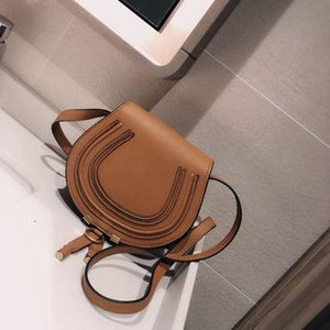 Famous Fashion Brand Design Women Handbag High Quality Genuine Cowskin Leather Cloe Mini Marcie Shoulder Messenger Saddle Bag