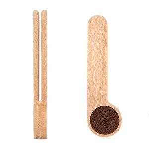 Hölzerne Kaffeeschaufel mit Tasche Clip Esslöffel Massive Buche Holz Messen SCOOK Tee Kaffeebohne Löffel Clip Geschenk Großhandel ZZD8475