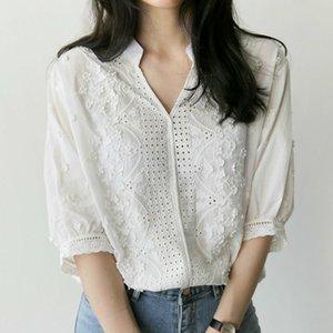 Женские блузки рубашки белая рубашка половина рукава вышивка блузка душистая женская одежда V-образным вырезом цветочный офис леди женские топы Blusa de r