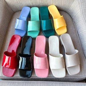 2021 Women Sandals High Heels Rubber Slide Sandal Platform Slipper Chunky 2.4 heel height Shoes Summer Embossed Flip Flops with box