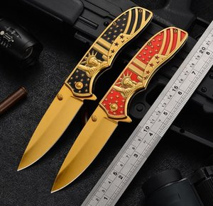 2021 HW187 Newly American Wind Folding Knives Stainless Steel Three-dimensional Relief 3D Outdoor Hiking Camping Portable Pocket Knife