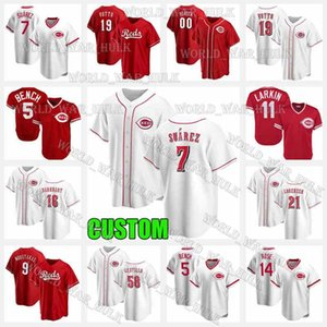 7 Eugenio Suarez Jersey 19 Joey Votto 5 Johnny Bench Suárez 11 Barry Larkin 16 Tucker Barnhart 21 Michael Lorenzen Cincinnati 야구 레드